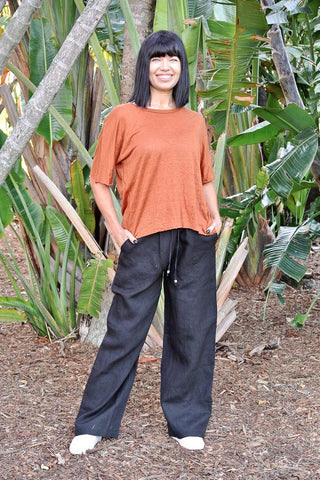 Linen La Mar Lounge Pant Black - Kabana Shop