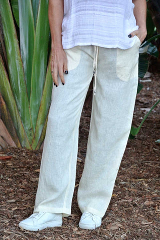 Linen La Mar Lounge Pant Natural - Kabana Shop