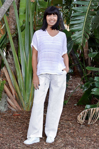 Linen La Mar Lounge Pant White - Kabana Shop