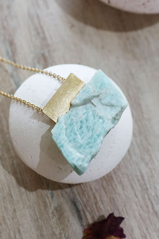 Large Peace Necklace Amazonite - Kabana Shop