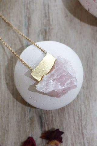 Large Peace Necklace Rose Quartz - Kabana Shop