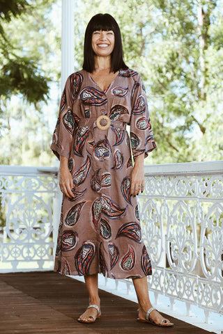 Evelyn Dress Mocha - Kabana Shop