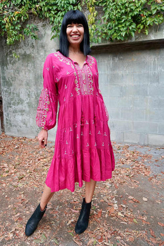Greta Dress Claret - Kabana Shop