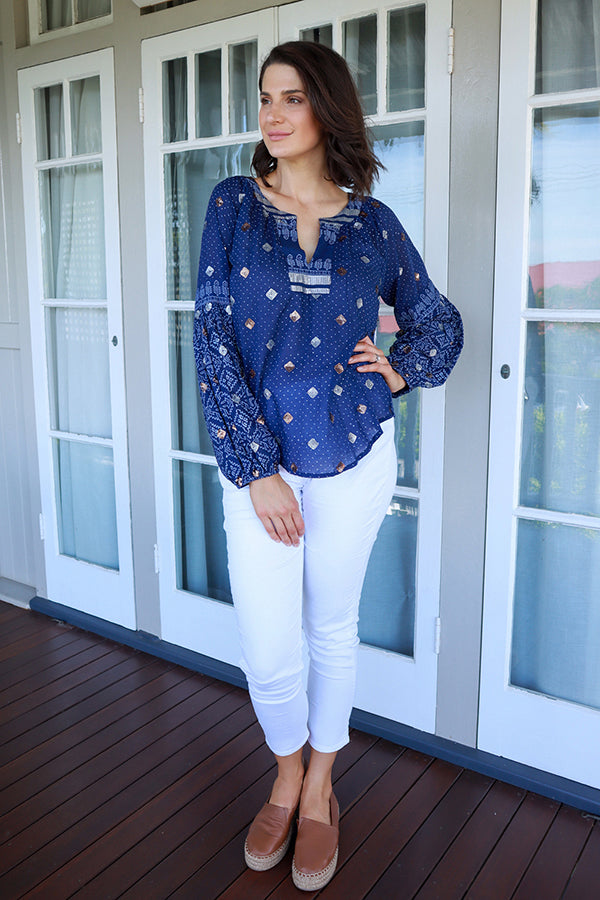 Callie Shirt Navy - Kabana Shop