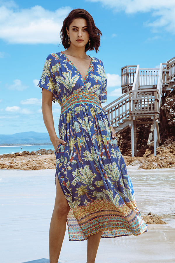Pooja Shirred Maxi Ocean - Kabana Shop