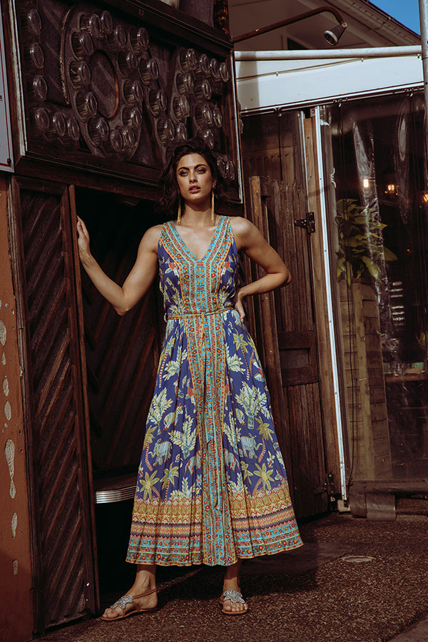 Pooja Sleeveless Maxi Ocean - Kabana Shop