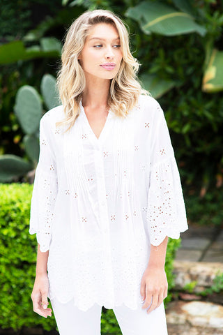 Bardot Pleat Shirt White - Kabana Shop