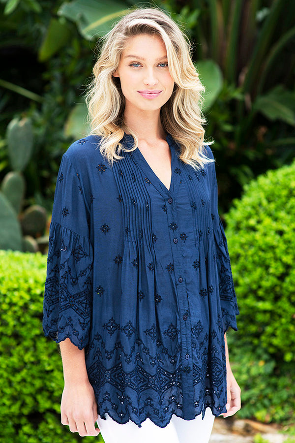 Bardot Pleat Shirt Navy - Kabana Shop