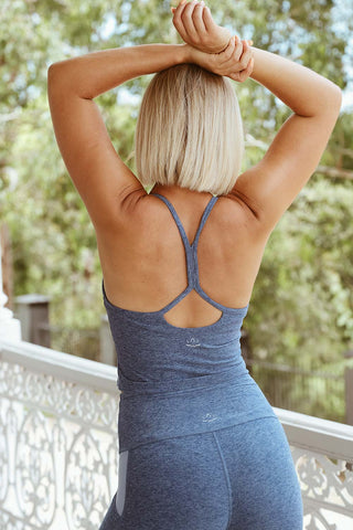 Spacedye Sim Racerback Crop Tank - Serene Blue - Kabana Shop