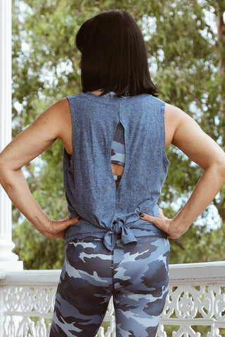Split Back Tank - Serene Blue - Kabana Shop