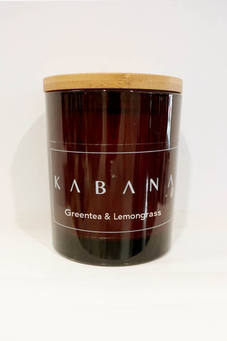 Amber Glass Candle Green Tea & Lemongrass - Kabana Shop