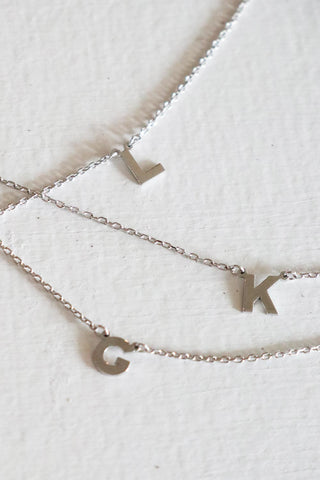 Initial Letter Necklace Silver - Kabana Shop