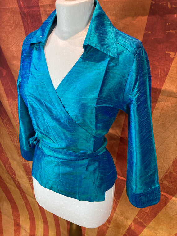 Dupion Silk wrap shirt