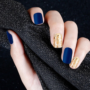 Golden Blue - Matte (Press On) - The Fab Nails