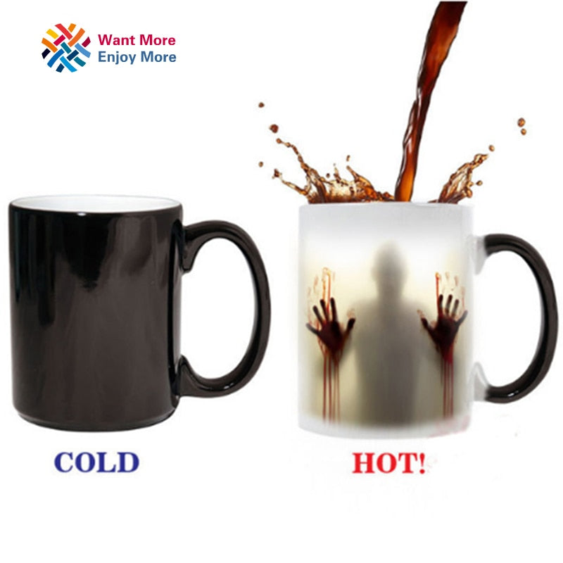 Color Changing Heat Sensitive Ceramic Zombie Coffee Mug