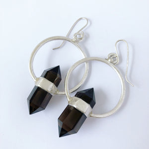 Smokey Quartz Strap Hoops Earring
