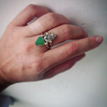 Load image into Gallery viewer, Pyrite/ Herkimer Diamond/ Chrysoprase Pyramid Ring