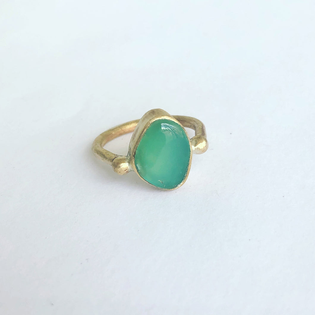 Chrysoprase Solitaire Ring