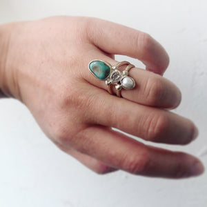 Pearl/Herkimer Diamond/Turquoise Pyramid Ring