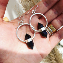 Load image into Gallery viewer, Smokey Quartz Strap Hoops Earring