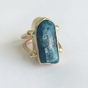 Blue Apatite Solitaire Ring
