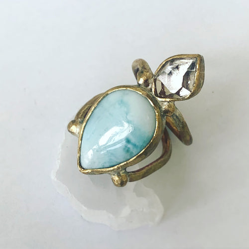 Larimar/Herkimer Diamond Pyramid Ring