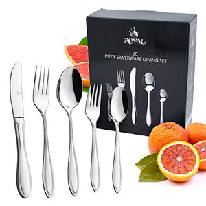Royal Polished Cutlery Flatware Set 20 Piece to 60 Piece