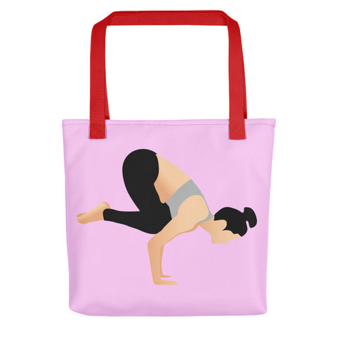 Pink Tote Crow Pose Pix Both Sides