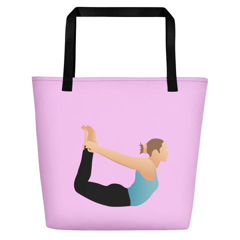 Pink Beach Bag Bow Pose Pix on Both Sides