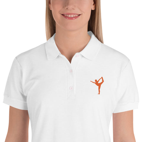 Lord of the Dance Pose Polo Shirt Orange Embroidered Graphic