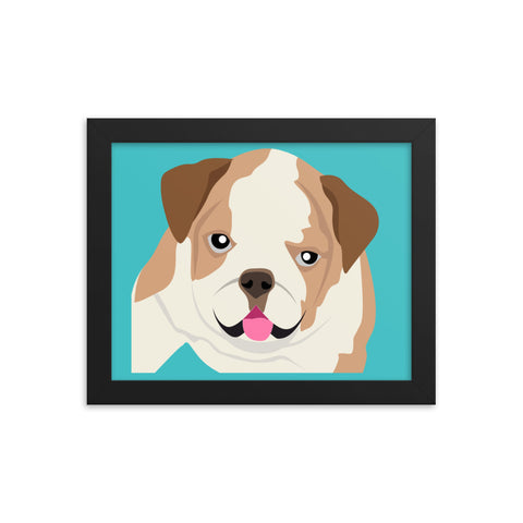 "English Bulldog Framed Poster Blue 8"" to 36"""