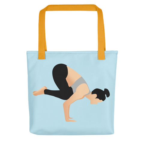 Blue Tote Crow Pose Pix Both Sides