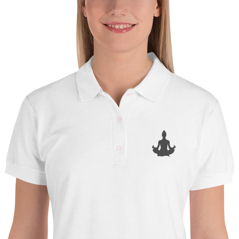 The Lotus Position Polo Shirt Black/White Embroidered Graphic