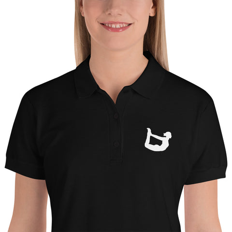 Dhanurasana Polo Shirt Black/White Embroidered Graphic
