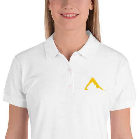 Downward Dog Yoga Polo Shirt Yellow Embroidered Graphic