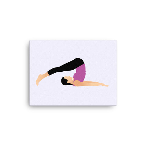 "Yoga Canvas Print Plow Pose Gray 16"" to 36"""