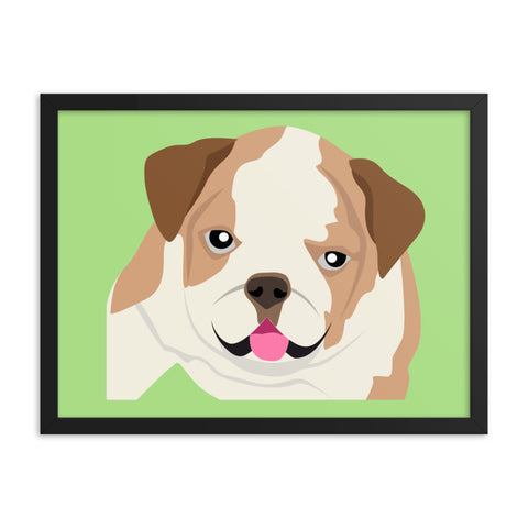 "English Bulldog Framed Poster Green 8"" to 36"""
