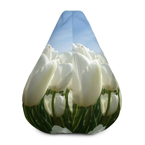 Bean Bag Chair w/ Filling, White Tulips