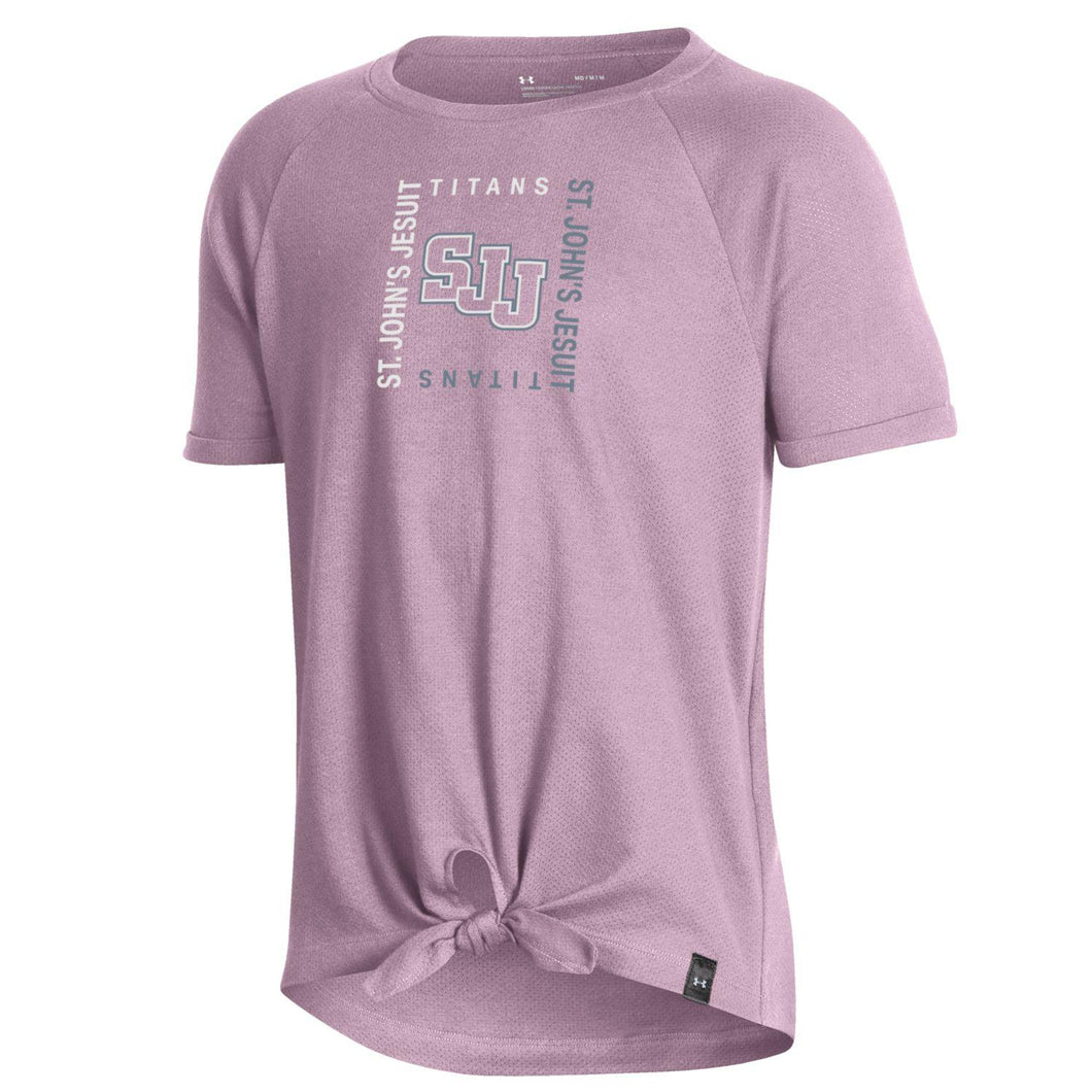 UnderArmour Girls' Charged Cotton Pointelle Mesh Tie Tee