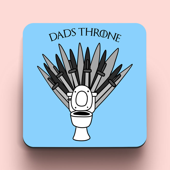 coaster with game of thrones inspired toilet iron throne reading dad's throne