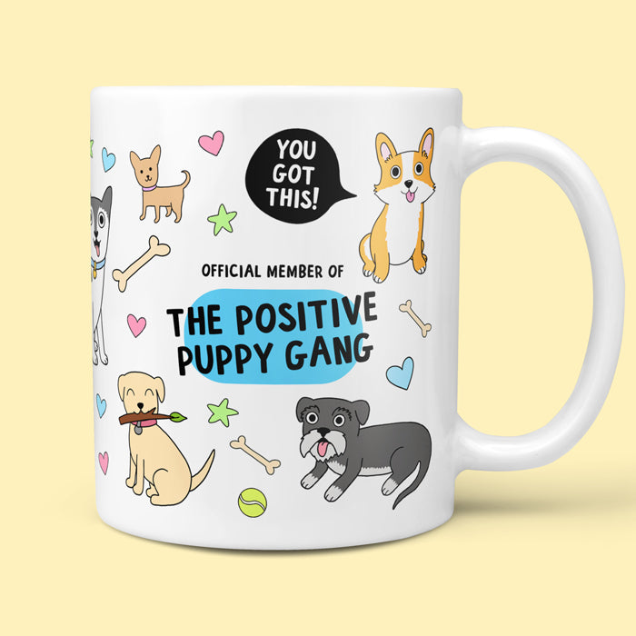 Mug With dog Images and Positive Quotes