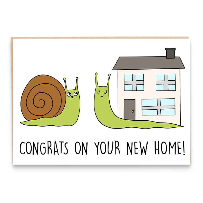 New home card with illustration of two snails and says congrats on your new home.