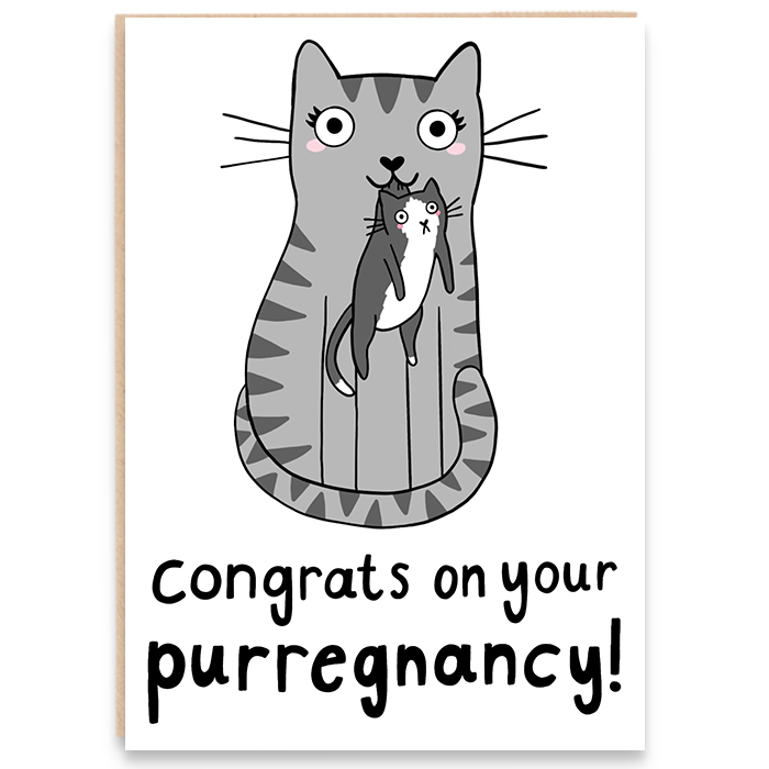 Pregnancy card with a mother cat and kitten illustration and says congrats on your purregnancy.