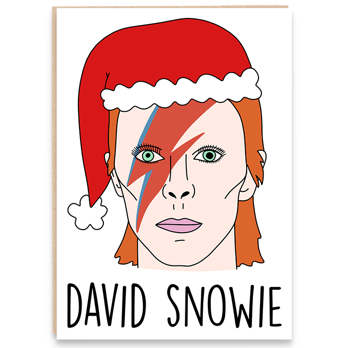 Christmas card with an illustration of david bowie and says david snowie.