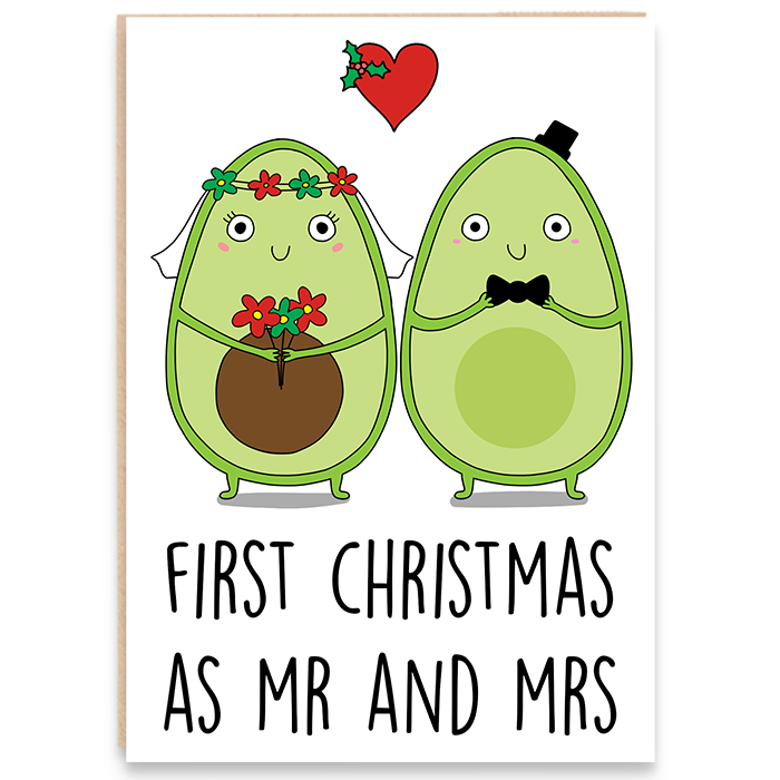 Christmas card with an illustration of an avocado bride and groom and says first christmas as mr and mrs.