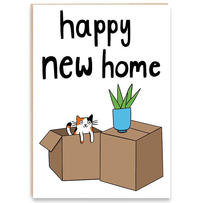 New home card with illustration of moving boxes with a cat peeking out and says happy new home.