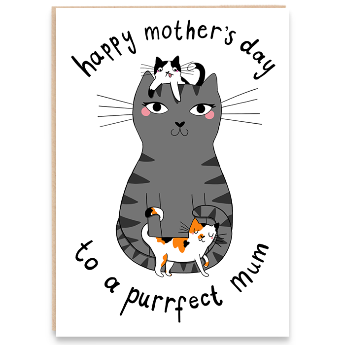 Card with an illustration of a cat and her kittens and says happy mother's day to a purrfect mum.
