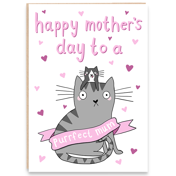 Card with an illustration of a cat and her kitten and says happy mother's day to a purrfect mum.