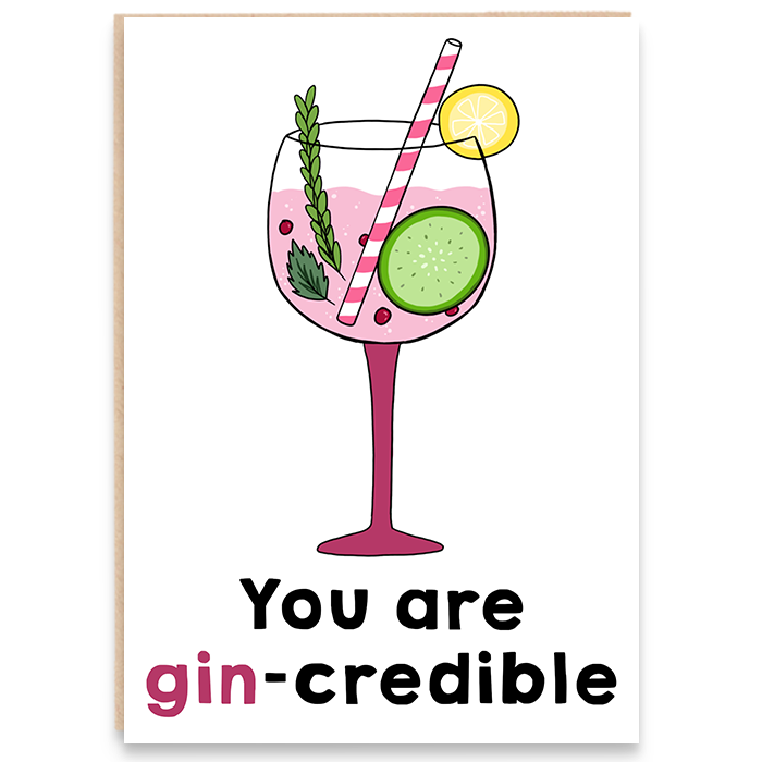 Congratulations card with a colourful glass of gin and says you are gin-credible.