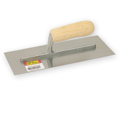 Cement trowel with comfort grip wooden handle